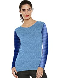 So Sweety Casual Cotton Full Sleeve Striped Women's Light Blue Top