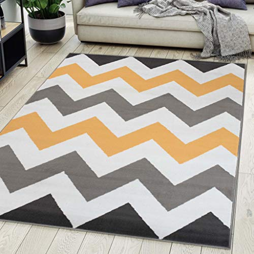Carpeto Rugs Alfombra De Salón Moderna De Pelo Corto Diseño Gris 200x300 cm Grande XL