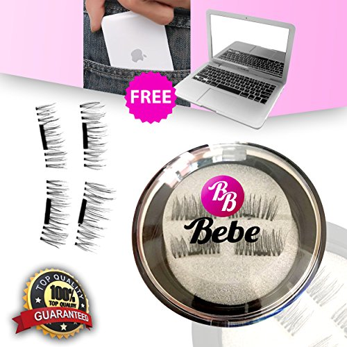 BeBe 3D Deluxe Magnetic False Eyelashes - INCLUDES FREE MIRRORBOOK AIR Compact Mirror Ultra Thin Reusable Premium Extension Lashes No Glue For Natural Beautiful Eyes. (1 Pair (4 Eyelashes))