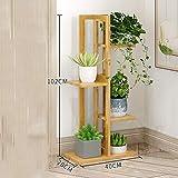 ZYFHJa Accesorios Soporte de Flores Minimalista Moderno de múltiples Capas, Soporte de Flores de pie, Estante de bambú Creativo, Estante de Maceta de múltiples Funciones (Color : B)