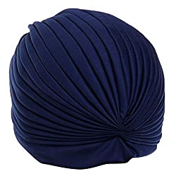 MagiDeal Women Girls Ladies Fashionable Polyester Pleated Pre Tied Turban Head Wrap Cap Twist Hat Navy Blue