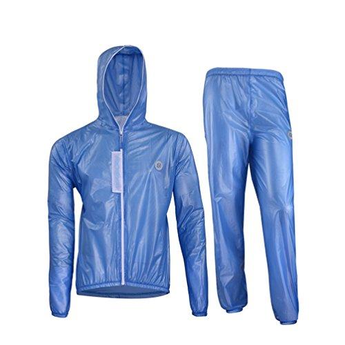 ROCKBROS Regenjacke Regenhose Set Wasserfest Fahrradjacke Atmungsaktiv Regen Anzug (Blau, Europäische Gr. L(Asiatische Gr. XL))