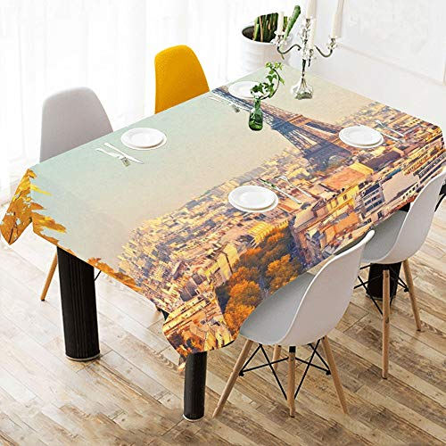 Yushg Frankreich Skyline Paris Romantische Eiffelturm Baumwolle Leinen Gedruckt Platz Fleck Beständig Tischwäsche Tuch Abdeckung Tischdecke Für Küche Home Esszimmer Tischplatte Decor 60 X 84 Zoll