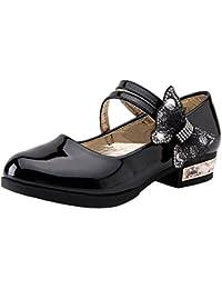 wealsex Chaussures Cérémonie Scratch Cuir Vernis Fille Chaussure Princesse  Mariage Mary Jane Ballerine Nœud Bout Fermé dbe6eb34a2ba