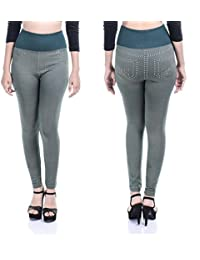 Timbre Women Denim Style Casual Leggings Stretchable & Free Size (Green Colored)