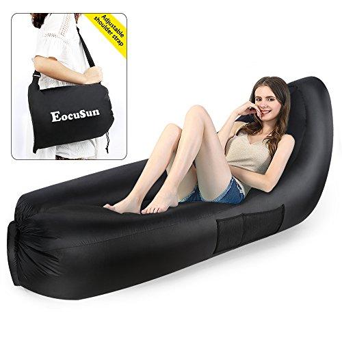Air Lounge, Ecousun aufblasbares Luftsofa mit Rückenschonung, Wasserdicht aufblasbarer Sitzsack Air sofa Airbag Liege Chillbag, Aufblasbare Luftsack mit Tragetasche, für In- & Outdoor (Schwarz)
