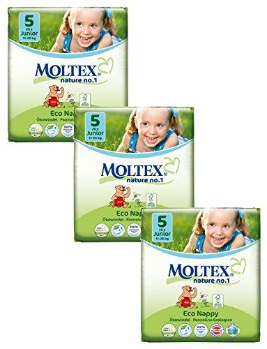 3x MOLTEX Nature No1 Ökowindeln Babywindeln Junior Gr 5 (11-25 kg) 32 Stück Peanuts