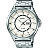 Casio Men's Quartz Watch with Silver Dial Analogue - Digital Display and White Metal Strap MTPE108D-7AVEF