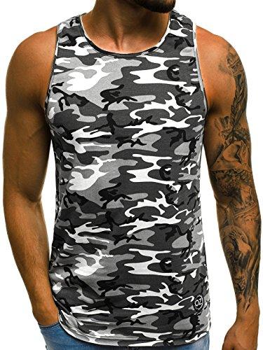 OZONEE Herren Tanktop Tank Top Tankshirt T-Shirt mit Print Unterhemden Ärmellos Camouflage Muskelshirt Fitness Motiv O/2684 SCHWARZ M