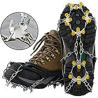 SKYSPER Crampones 19 Dientes y Garras Antideslizante de Zapatos Unisex crampones de Marcha Escalada para Nieve y Hielo Acero Inoxidable para Invierno Senderismo Montañismo