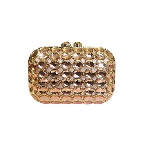 Anna Cecere Italienisch Entwickelt Gioello Jewel Clutch Abendtasche - Pink (Jeweled Grün Handtasche)