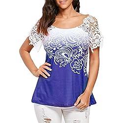 MORCHAN Femmes Dentelle Occasionnels Couture Floral Imprimé O-Neck Trim T-Shirt Tops Blouse (L, Bleu)