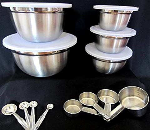 Better Homes and Gardens 18 Piece set Stainless Steel Measure & Mixing Kitchen Round Bowl with lid Set