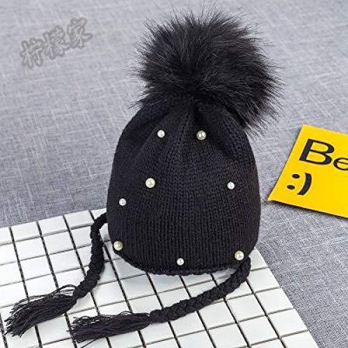 Kostüm Ball Reis - mlpnko Baby Hut Kinder Haar Ball Ohrenschützer Wolle Hut Strickmütze Jungen und Mädchen Baby Hüte Baby Hut schwarz Code