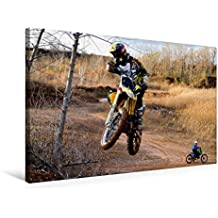 Premium Textil-Leinwand 75 cm x 50 cm quer, Halsbrecherischer Sprung - Motocross | Wandbild, Bild auf Keilrahmen, Fertigbild auf echter Leinwand, Leinwanddruck (CALVENDO Sport)