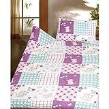 Biber Kinderbettwäsche 2 tlg. mit Maus 100x135 cm 100% Baumwolle Bettwäschegarnitur für Kinder Lila Türkis