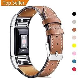 Mornex Bracelet Compatible Fitbit Charge 2 en Cuir,Bande de Remplacement Réglable Sangle Rechange Métal Connecteurs Accessoires