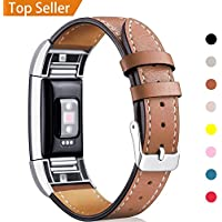 Mornex Strap Compatible Fitbit Charge 2 Band Leather Strap, Classic Adjustable Replacement Wristband Fitness Accessories Metal Connectors
