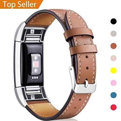 """Mornex Für Fitbit Charge 2 Armband, echtes Leder-Armbänder, Unisex-Ersatzband mit Metall Konnektoren(5,5\""""-8,1\"""") Braun"""