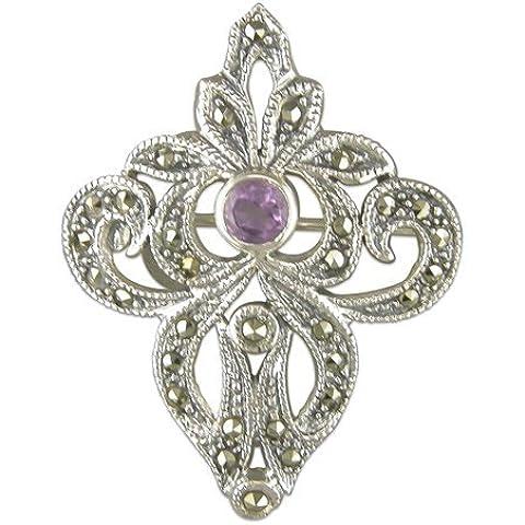 & Marcasite-Spilla in argento Sterling, a forma di ametista, in stile antico, Vintage e Clip. 4445 & Spilla
