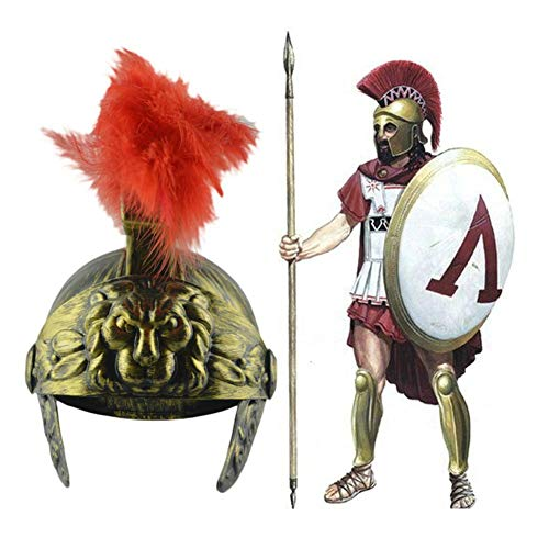 Meaningful Römischer Kostüm Helm mit roter Federfahne Trojanischer Krieger Spartanischer Soldat Plastik Kostüm Helm mit rotem Federkamm