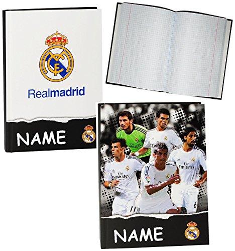 Unbekannt Notizbuch / Tagebuch - kariert A5 -  Real Madrid - Fußball Verein  - incl. Namen - Hardcover gebunden / Dickes Buch / Kladde z.B. für Geheimnisse - Reisetag..
