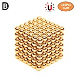 Magic Building Ball Toys Magneten Blokken Beeldhouwen met 216 Stks en 5 mm voor Intelligence Development en Stressverlichting 3D Puzzelstukje voor Office School Home Education,Gold