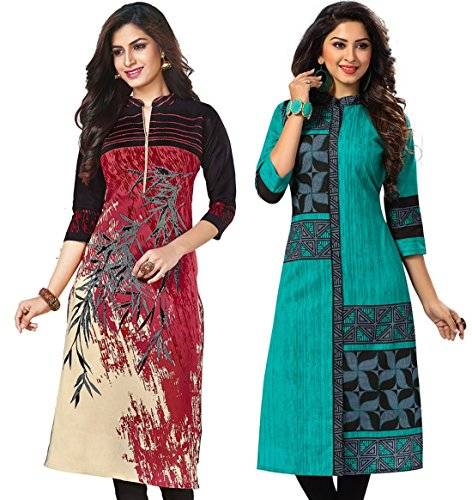 Jevi Prints Women's Unstitched Kurti Material (Pack of 2)(Kavya-1207-Saheli-1512_Multi-Coloured_Free Size)