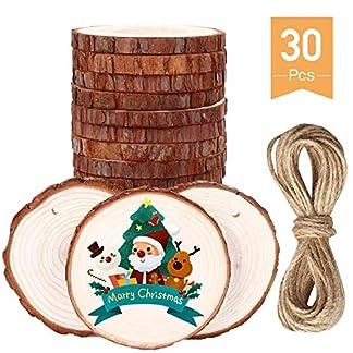 WELLXUNK – Estrellas de Madera para decoración navideña, 200 Unidades, Discos de Madera, para Manualidades y Manualidades