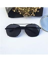 LXKMTYJ Grande scatola di metallo specchio Toad viso tondo poligono di occhiali da sole grandi faccia Video Occhiali da sole sottile ed elegante in colore nero