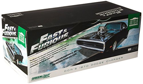 Greenlight Collectibles – Maqueta de Dodge Doms Charger – Fast and Furious – 1970 – Escala 1/18, 19027, Negro