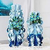 Velas azules con nomeolvides azules - grandes velas talladas en parafina, velas hechas a mano, hermosas velas para la decoración del hogar o fiestas - un gran regalo para su cumpleaños, su cumpleaños