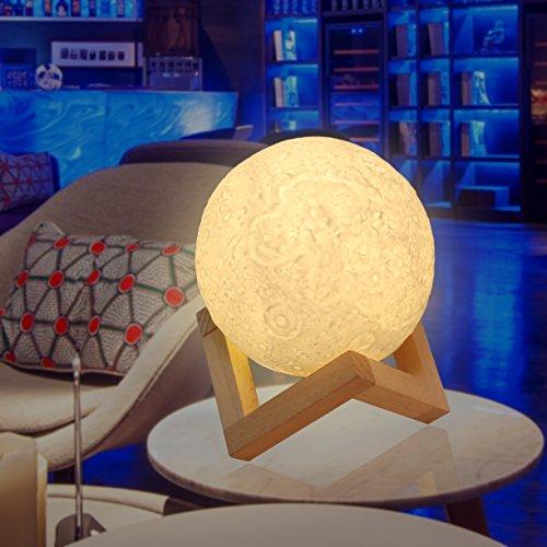 Mond Lampe,ZOTO 3D Mond Nachtlicht,Weiß/Warm Dimmable Touch Control Moonlamp Licht Helligkeit,USB Aufladbar Led Nachtlicht Nachttischlampe Stimmungslicht,Hölzerner Einfassung Tisch Schreibtisch Lampe,Bestes Geschenk