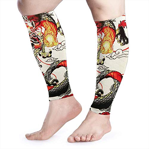 Bikofhd Chinese Dragon Red Fire Beads Cool Running Home Workout Sport Gym Gear Accessories Calf Compression Sleeve Leg Jobs Running Half Foot Guard Protective Supports Guards