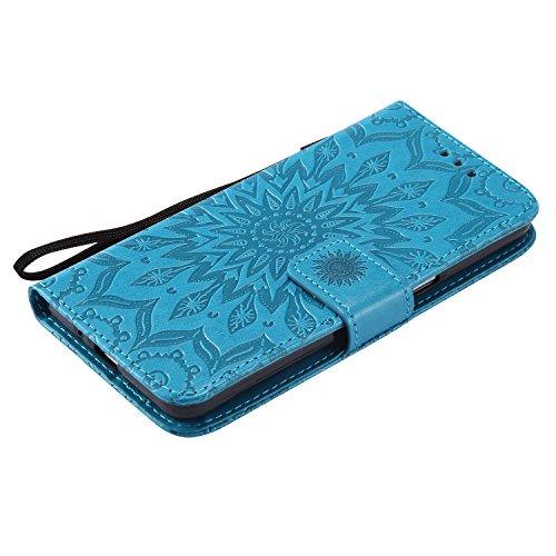 G530 Hülle,G531F Hülle,Samsung Galaxy Grand Prime Hülle,Samsung Galaxy Grand Prime SM-G530 G531F Leder Wallet Tasche Brieftasche Schutzhülle,Cozy Hut® Prägung Sunflower Muster PU Lederhülle Flip Hülle blau
