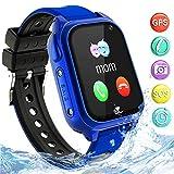 Bambini Smartwatch Impermeabile con GPS Tracker, Touch screen HD Orologio Telefono Chat Vocale SOS Gioco Sveglia da Polso Regalo(SS8-Blue)