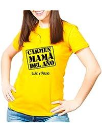 Calledelregalo Regalo Para Madres Personalizable: Camiseta Mamá del Año Personalizada con Su Nombre