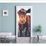 Haipeiy Türaufkleber 3D Tür Wandbild Kuh Tür Aufkleber Tapete Wanddruck Aufkleber Wanddeko Wandbild Foto Selbstklebende Türverpackung 77x200 cm