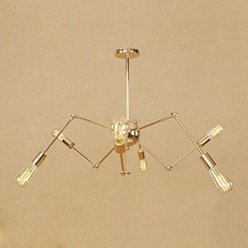 Pendelleuchte aus Metall Moderne E27 LED Hängelampe Silber Chrom Deckenlampe Kronleuchter Hängeleuchte Energiesparlampe Bar Schlafzimmer Cafes Restaurants Wohnzimmer Innenleuchte Küchenlampe, metall, gold, 6