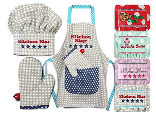 Emily´s Check Kochmütze + Küchenschürze + Topfhandschuh für Kinder - 3teiliges Set 1428.2002, Kitchen Star, Small [3-6 Jahre]