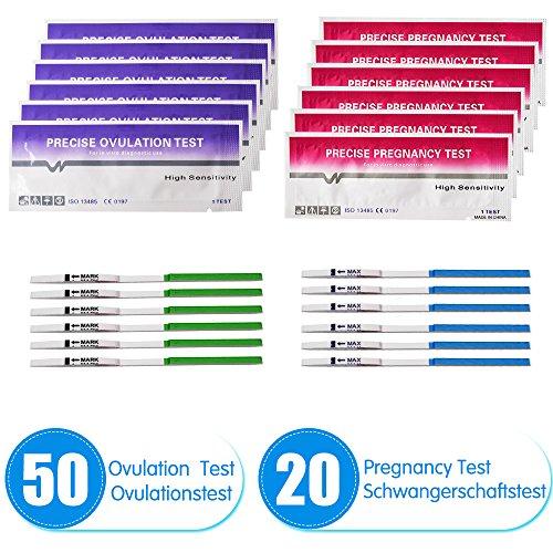 50 pruebas de ovulación ultrasensibles (25 mlU/ml) y 20 pruebas de embarazo ultrasensibles (25mIU/ml)