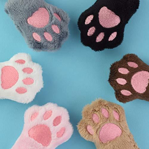 Schlüsselanhänger Pfote Katze Kitty Cat Tatze Paw - Pfötchen Plüsch in grau weiß schwarz rosa Farbe Farbwahl Glücksbringer Hasenpfote vegan