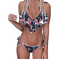 Verano Bikini Sexy para Mujer,Traje de baño de Bañadores Push up Mujer Sujetador Relleno Traje de baño de Playa de Fiesta Casual.
