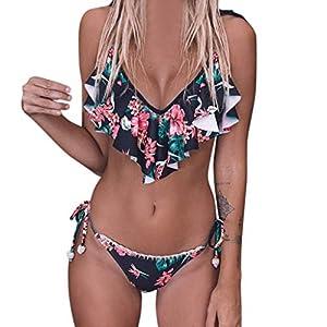 Damen Tankini Rüschen Bandage Bikini Set Push Up Brasilianer Drucken Zweiteilige Badebekleidung Strandkleidung