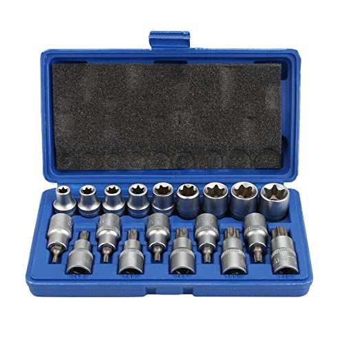 Eduton 19 PCS 1/2 Zoll Socket Set mit Trage Box Portable Male Buchse - Chrome Socket Set
