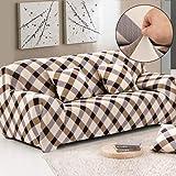 Sofa für 3-Sitzer-Sofa Schonbezug Stretch Elastic Pet Dog Polyester-Couch Displayschutzfolie-Soft Couch Cover Floral Print Bettüberwurf, Grid, 3-Sitzer