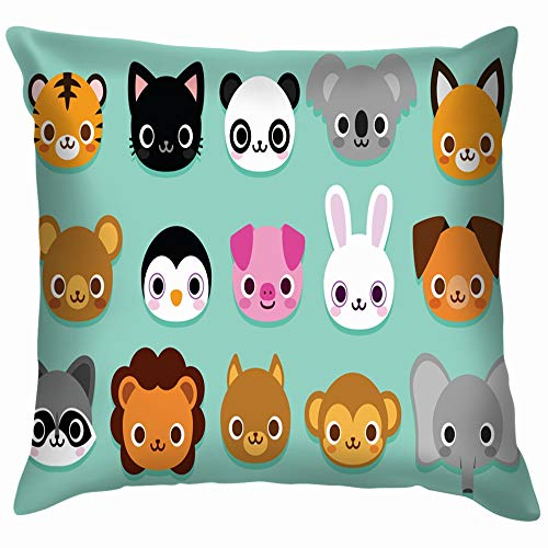 beautiful& Set Cute Cartoon Animals Isolated Wildlife Animal Soft Cotton Linen Cushion Cover Pillowcases Throw Pillow Decor Pillow Case Home Decor 18X18 Inch (Cartoons Halloween Chipmunks)
