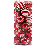 Malloom® 24PC colorido Bola de Navidad (6cm) plástico de Navidad decoración del árbol (rojo)