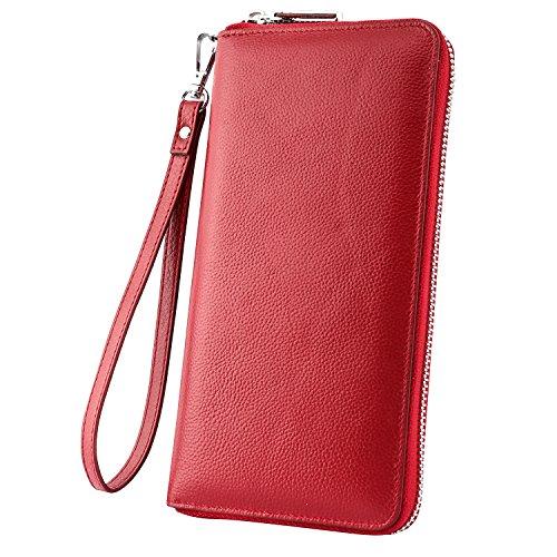 Luxspire RFID Blocking Wallet Long Handbag Large Capacity Genuine Leather Purse Clutches Bifold Multi Card Holder Organizer Phone Bag for Men Women, Red
