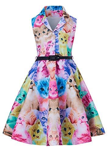 RAISEVERN Petite Ladies Dresses Buntes, ärmelloses, bedrucktes Midi-Kleid für Festliche Anlässe mit Bowknot-Gürtel 13-14Years Girl (Einfache Halloween-ideen Für Die Schule)